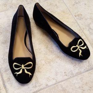 Ann Taylor Great Cond. Ballet Black Velvet Shoes